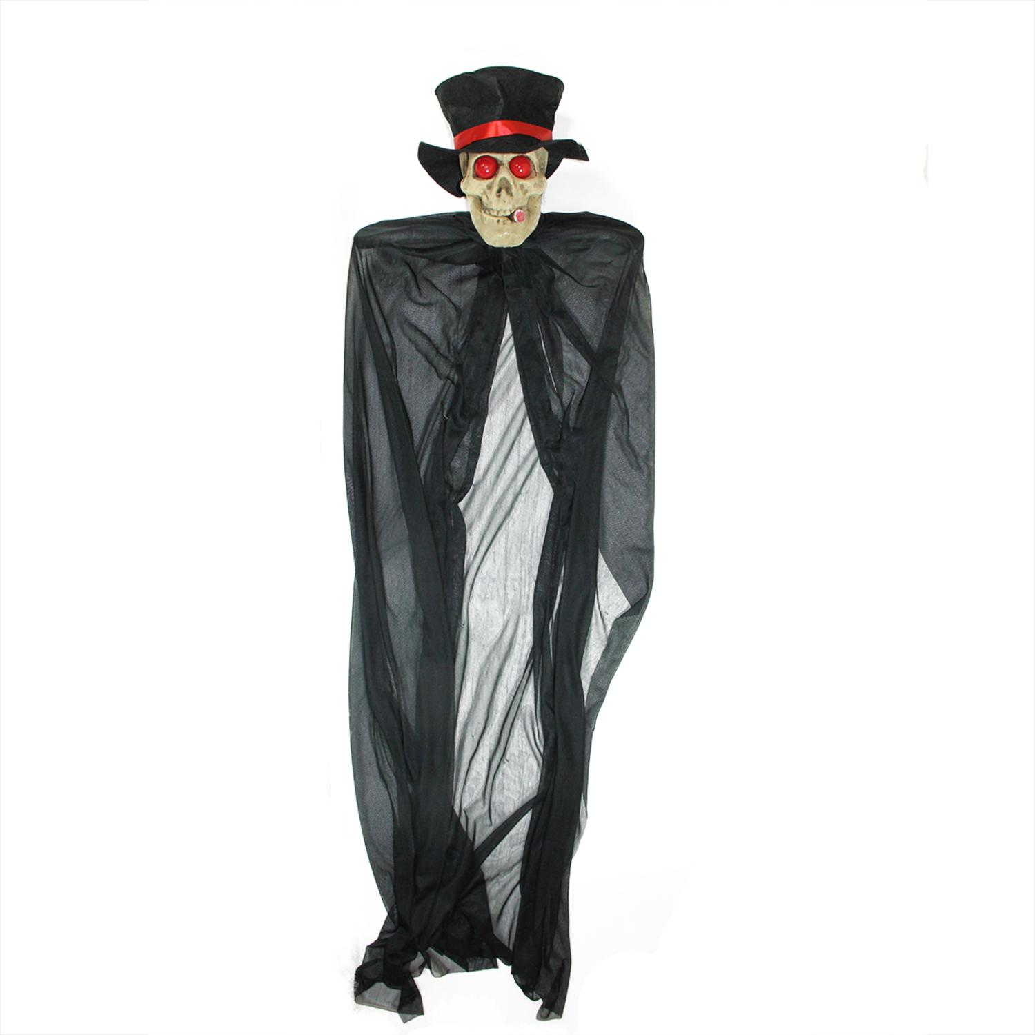 ''55'''' Black and Red Lighted Skull Reaper with CIGAR Hanging Halloween Decoration''