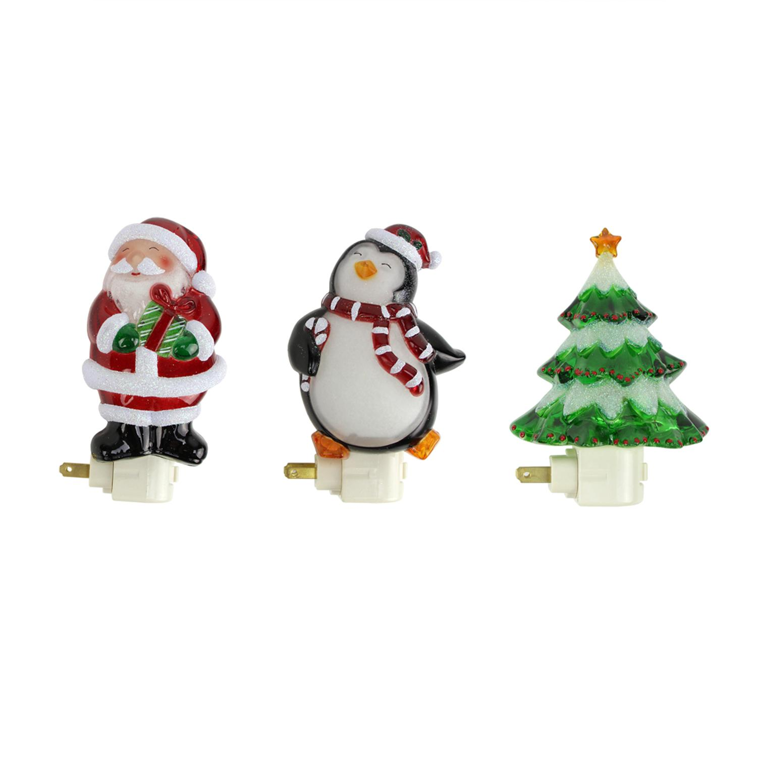 ''Set of 3 Glittered Santa Claus  Penguin and Christmas Tree HOLIDAY Night Lights 6.25''''''