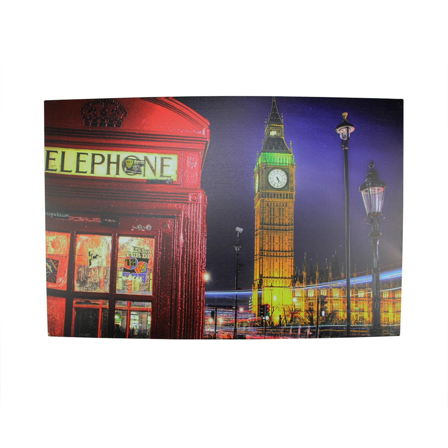 ''LED Lighted Famous Big Ben and Red TELEPHONE Box London Canvas Wall Art 15.75'''' x 23.5''''''