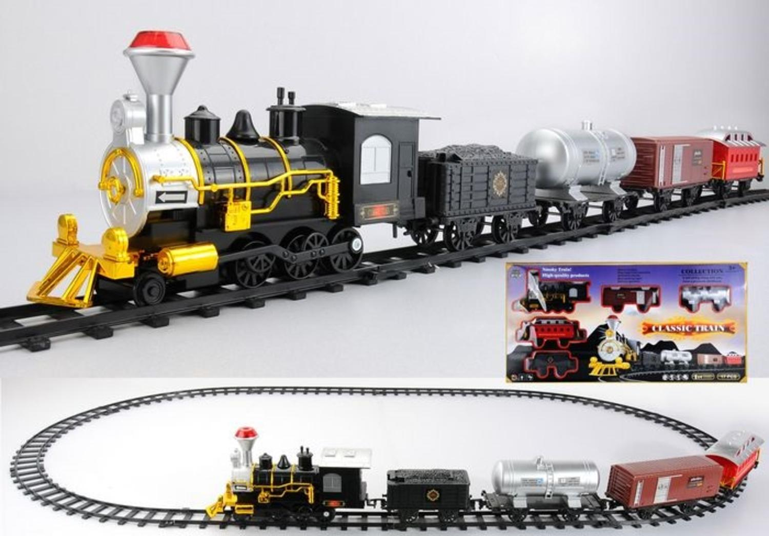 17-Piece Battery Operated Lighted & Animated TOY TRAIN Set with Authentic TRAIN Sound