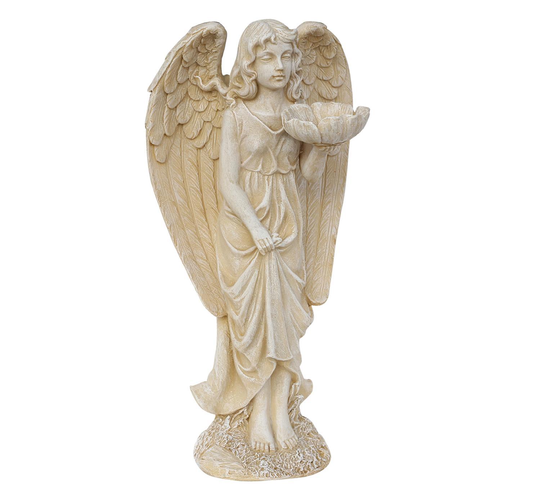 ''20'''' Heavenly Gardens Distressed Ivory Cherub Angel Bird Feeder Outdoor Patio Garden Statue''