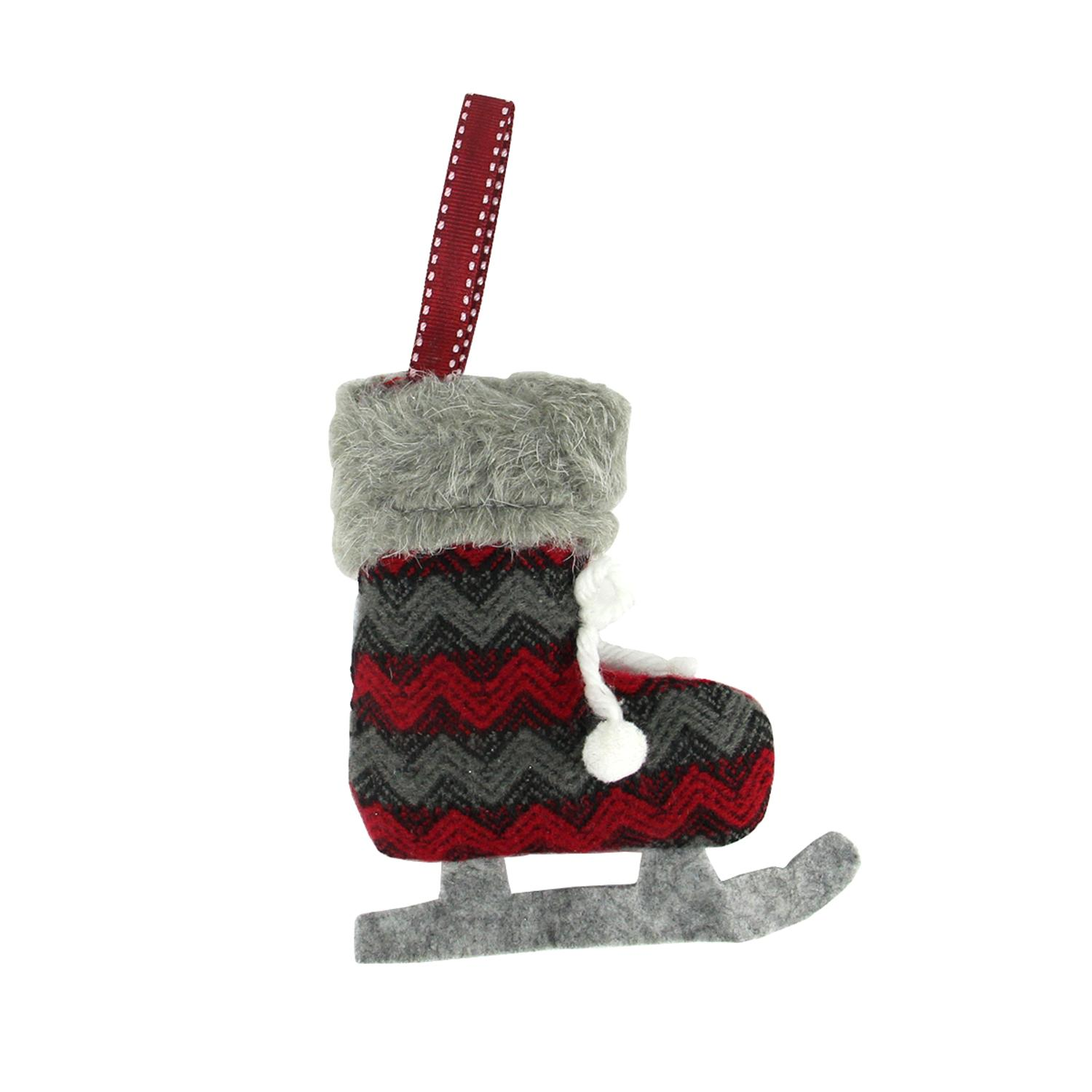 ''5.5'''' Red and Black Chevron Plush Knit ICE SKATE Christmas Ornament''