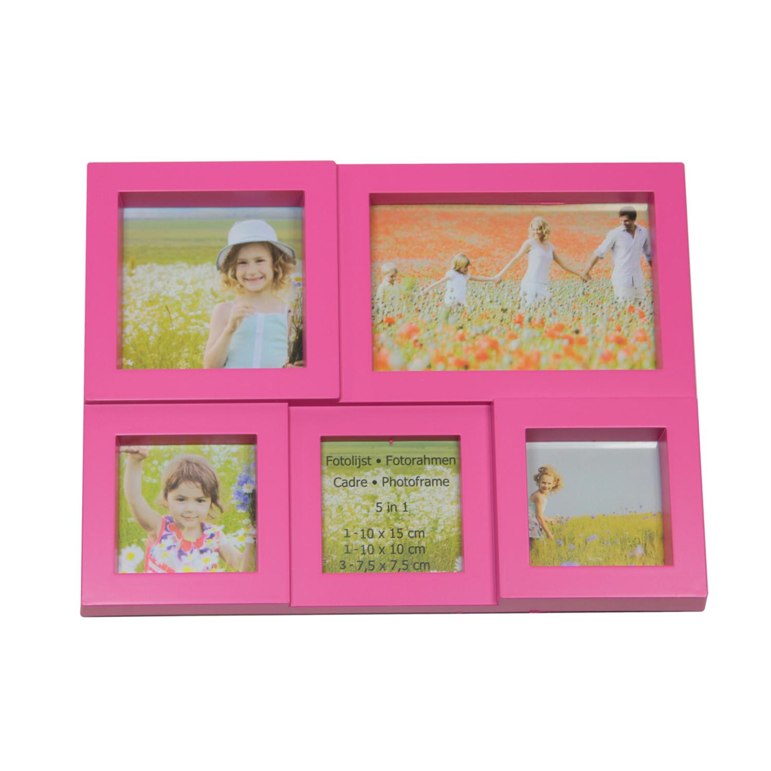 ''11.5'''' Pink Multi-Sized PUZZLEd Photo Picture Frame Collage Wall Decoration''