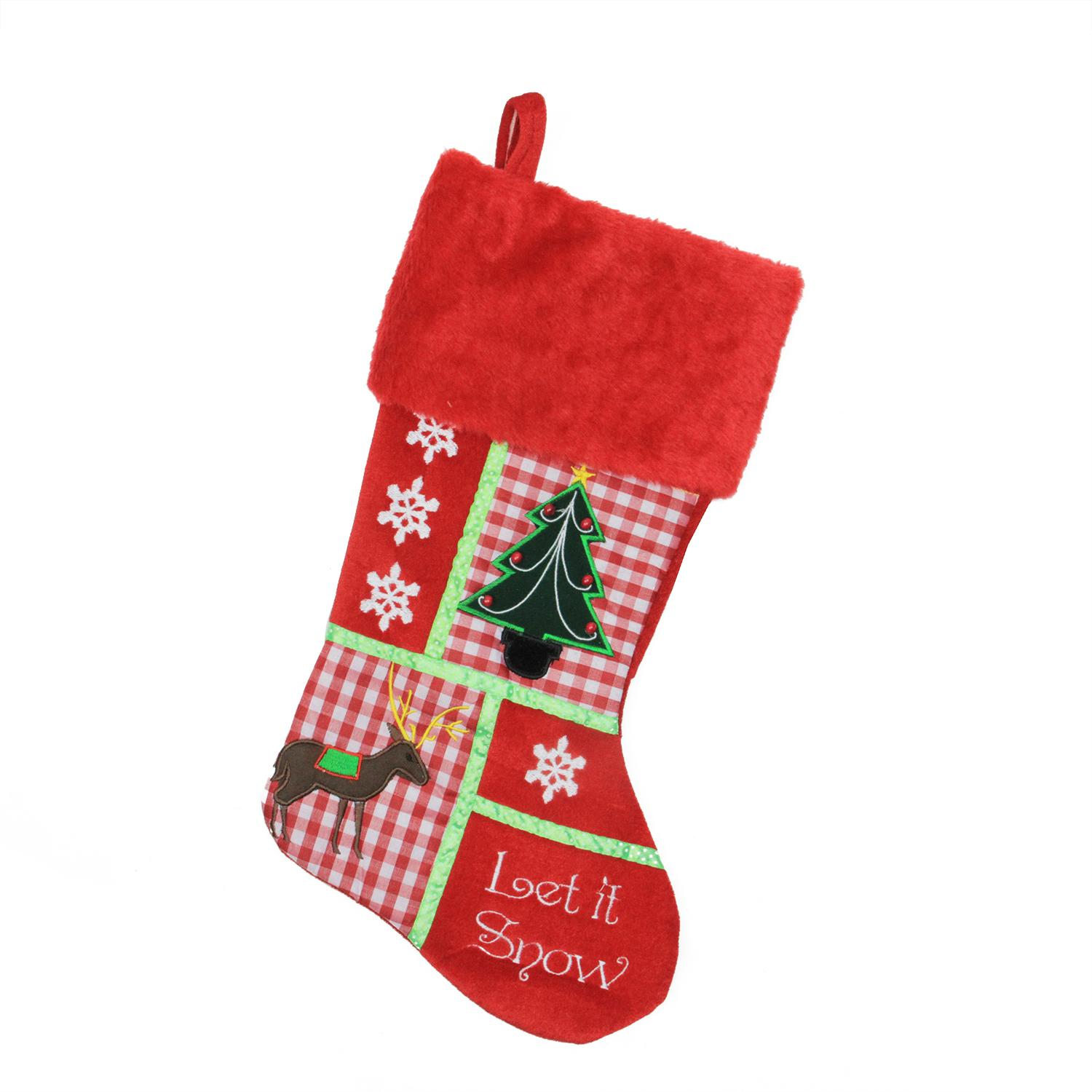 ''18.5'''' Christmas Cheers HOLIDAY Patches ''''Let It Snow'''' Christmas Stocking''