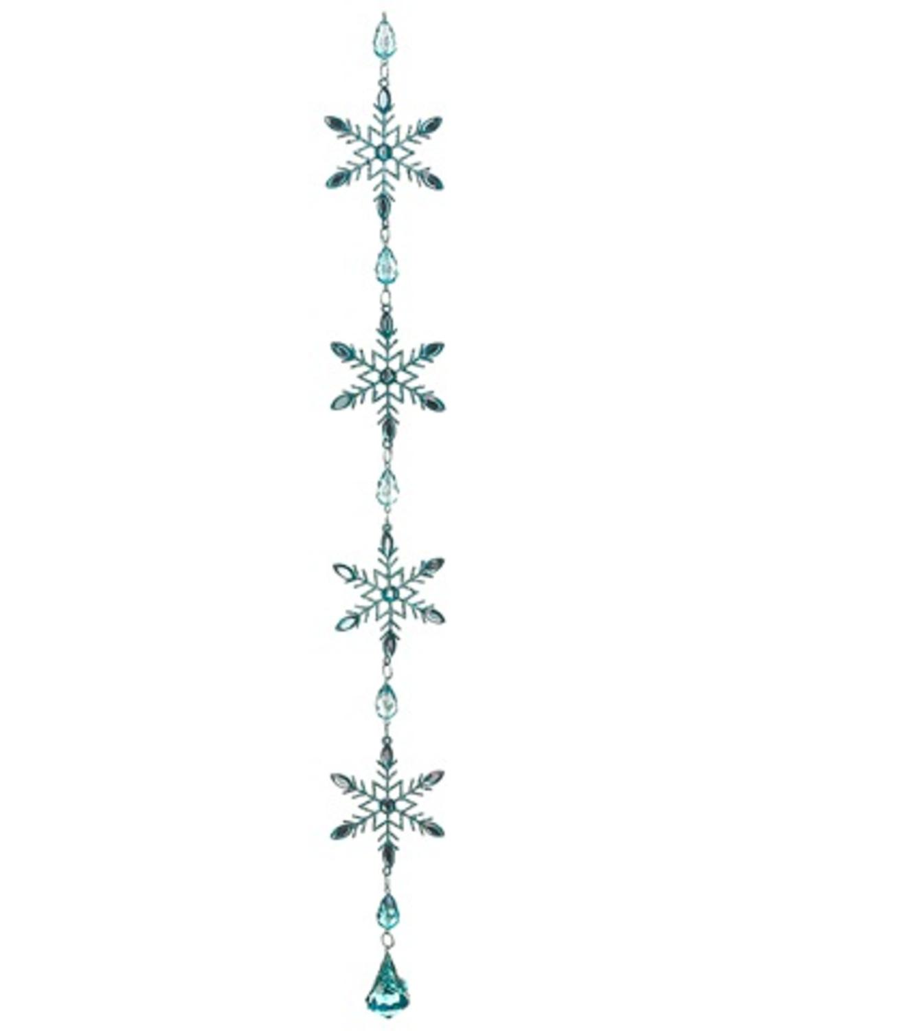 ''20'''' Winter Frost AQUAMARINE Blue Glitter Snowflake Christmas Dangle Ornament''