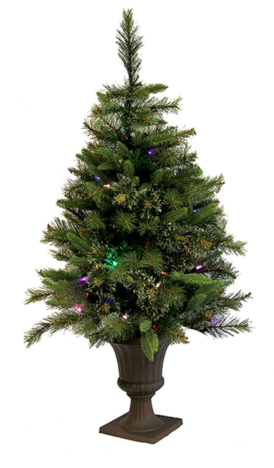 3.5' Pre-Lit Battery Operated CASHMERE Potted Christmas Tree - Multi LED Lights