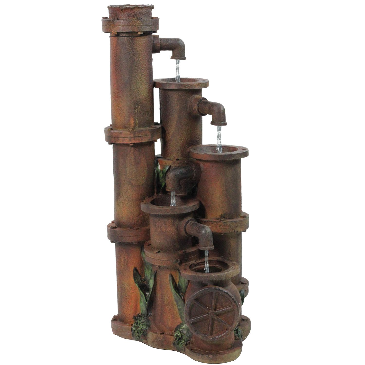 ''23.5'''' Rusted Cascading PIPEs Outdoor Patio Garden Water Fountain''