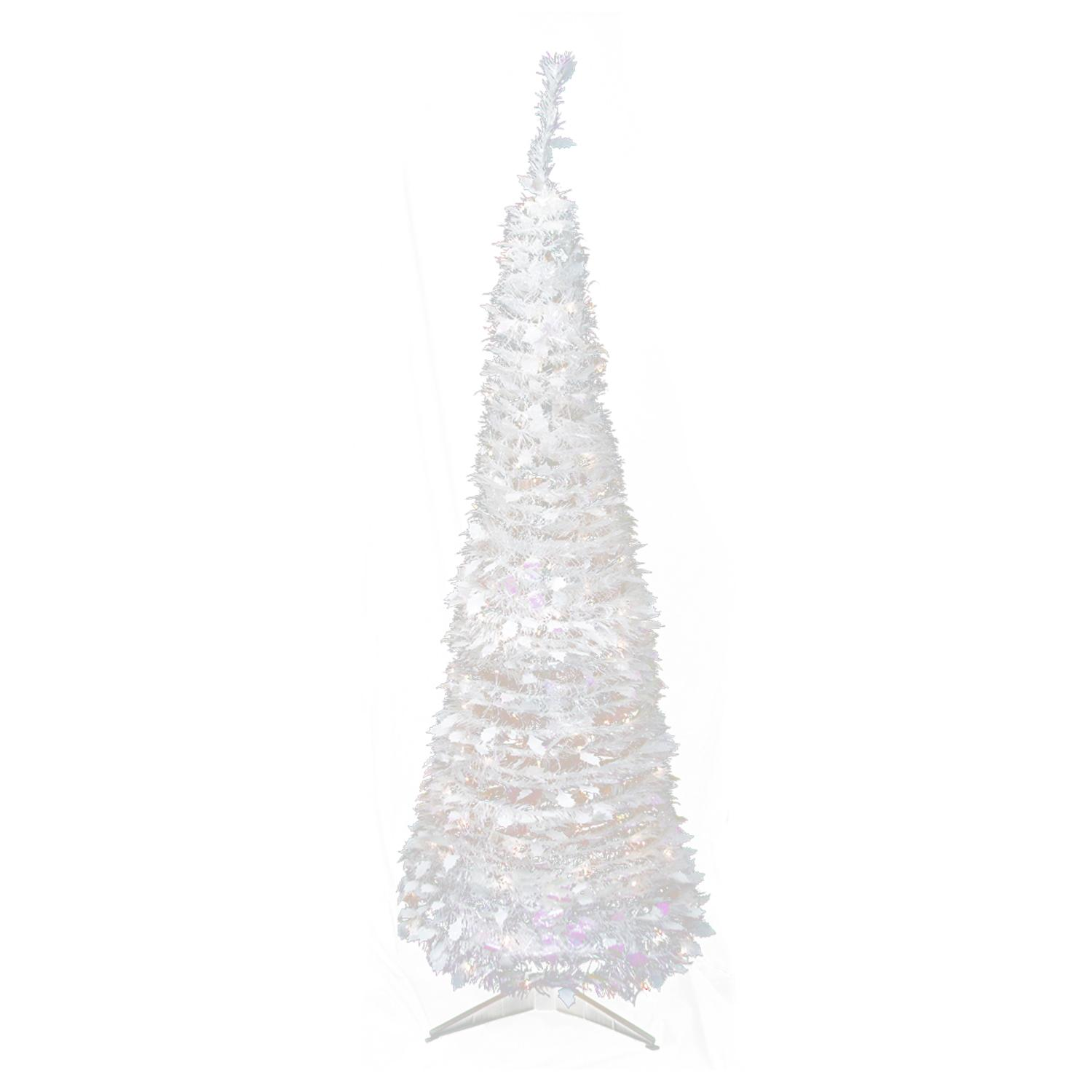 6 pre lit pop up iridescent tinsel artificial christmas tree clear lights