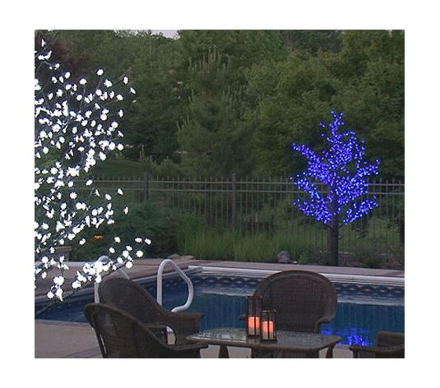 85 pre lit led outdoor christmas tree decoration blue flower lights - Pre Lit Outdoor Christmas Tree