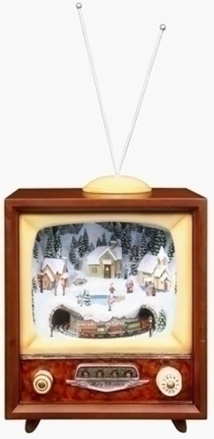 roman 16 amusements led lighted animated and musical retro christmas television set