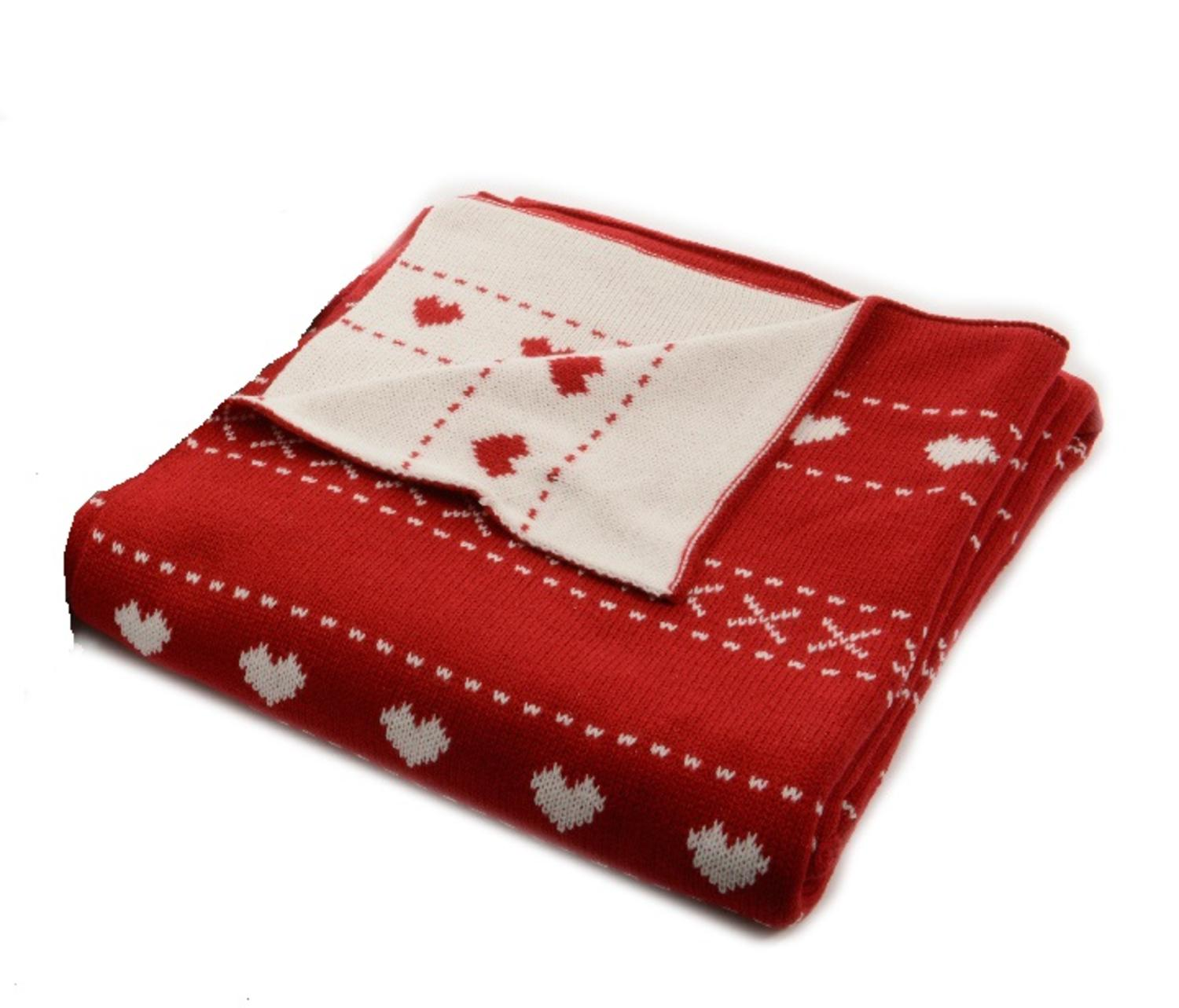 alpine chic red with white heart pattern knitted christmas throw blanket 50 x 60
