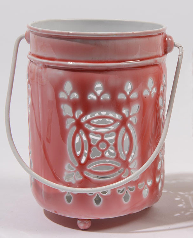 ''7.5'''' L'Eau de Fleur Rose Pink Cut-Out VOTIVE CANDLE Lantern''