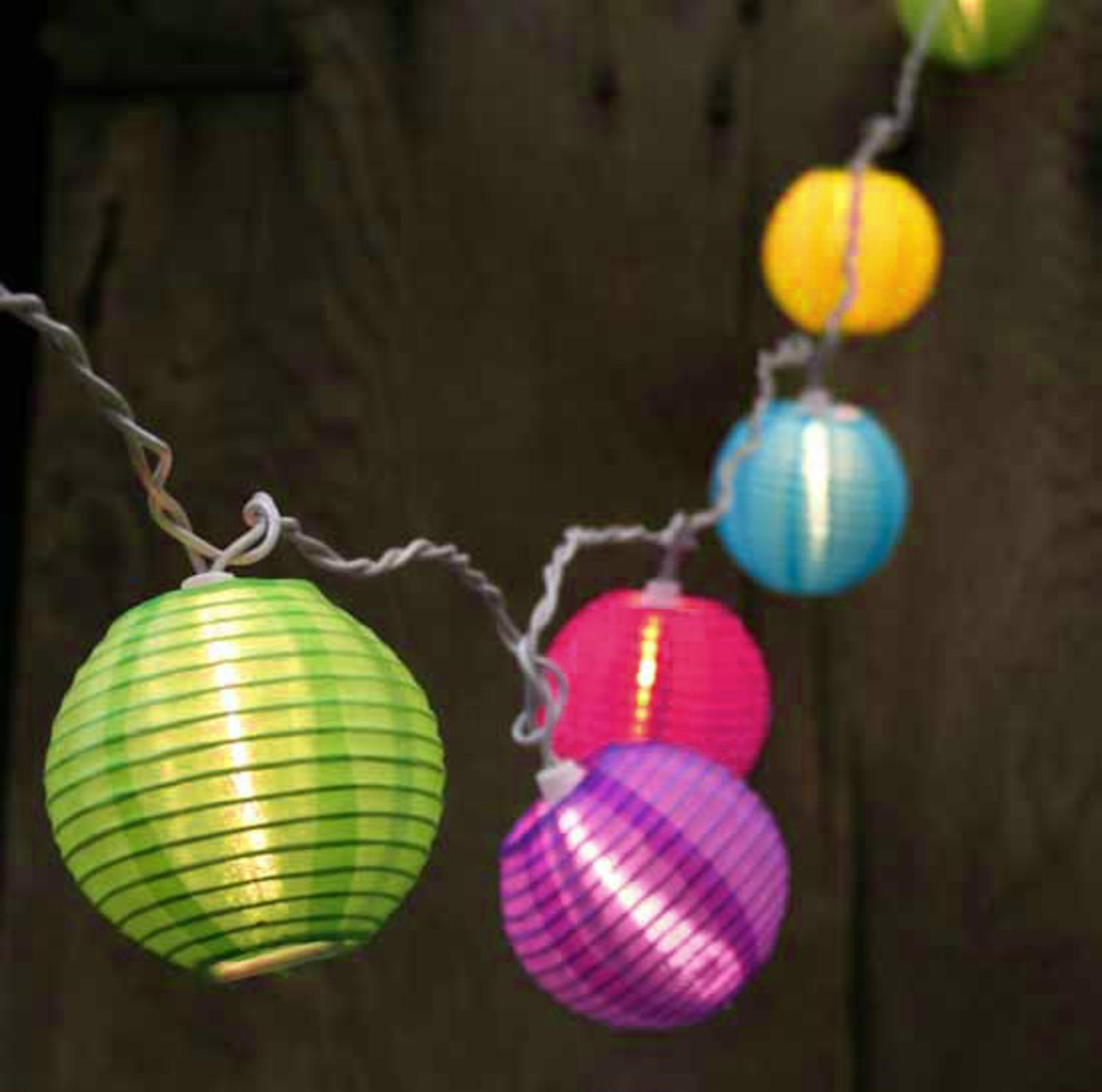 Set of 10 Bright and Colorful Round Chinese Lantern Patio Lights ...