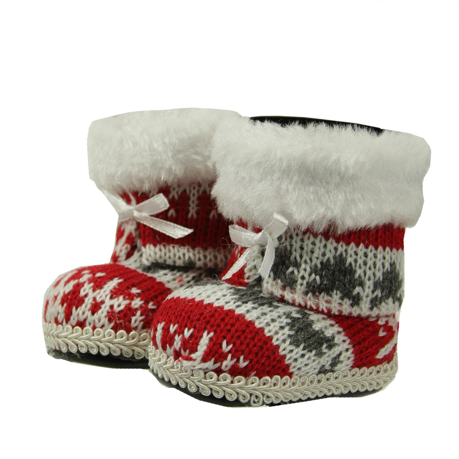 ''2.75'''' Alpine Chic Red  White and Gray Nordic Style BOOTS Christmas Ornament''