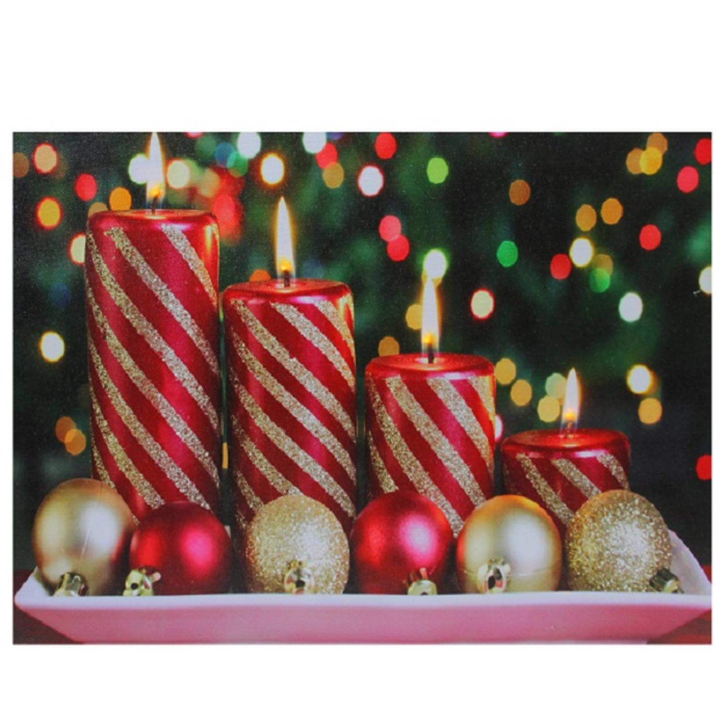 Led lighted christmas candles with ornaments canvas wall art x tanga - Appealing christmas led candles for christmas decorations ...