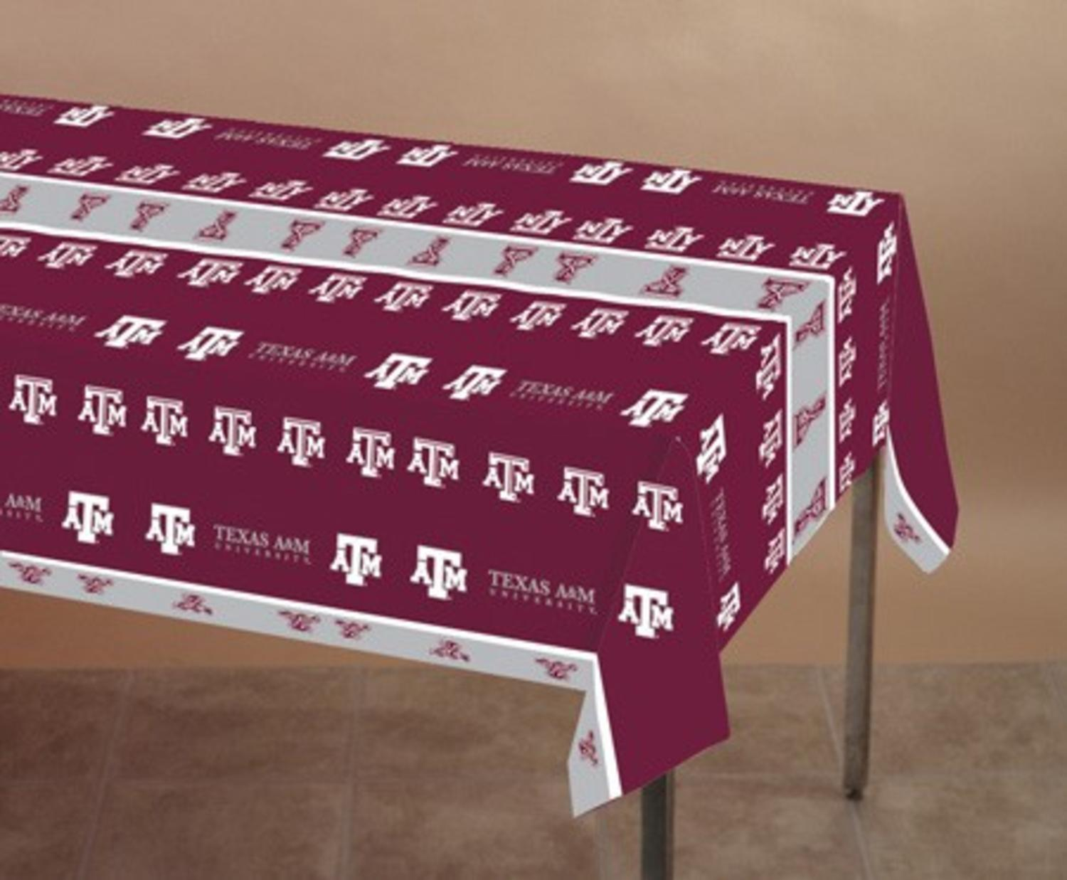 12 ncaa texas a m aggies plastic tailgating banquet table for 10 foot table cloths