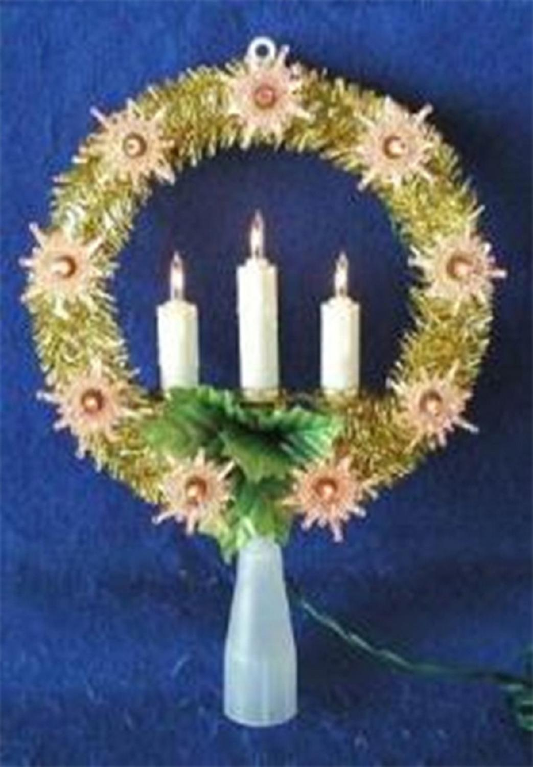 ''8'''' Lighted Gold Tinsel Wreath with CANDLEs Christmas Tree Topper - Clear Lights''