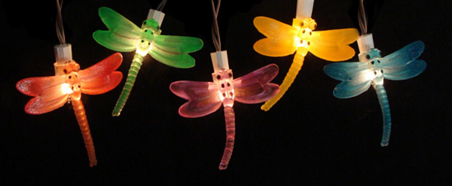 Set of 10 Battery Operated LED Dragonfly Garden Patio UMBRELLA Lights with Timer