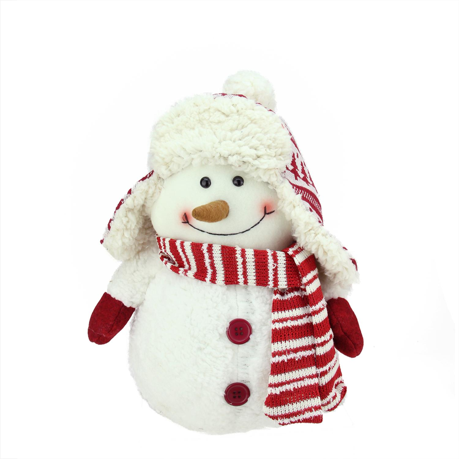 White chubby smiling snowman with winter hat plush table top ebay