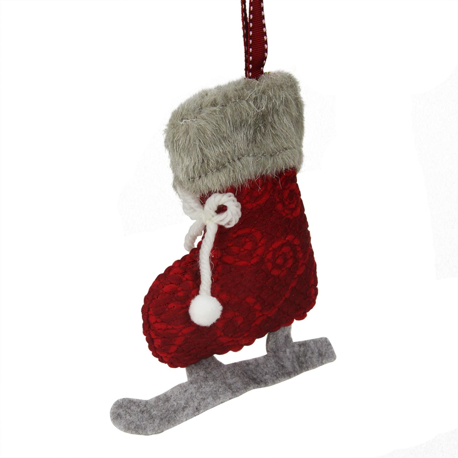 ''5.5'''' Red and Gray Plush Knit ICE SKATE Christmas Ornament''