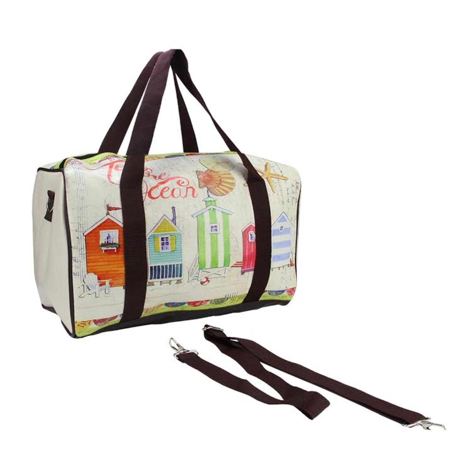 ''16'''' Vintage-Style BEACH House Theme Travel BAG with Handles and Crossbody Strap''