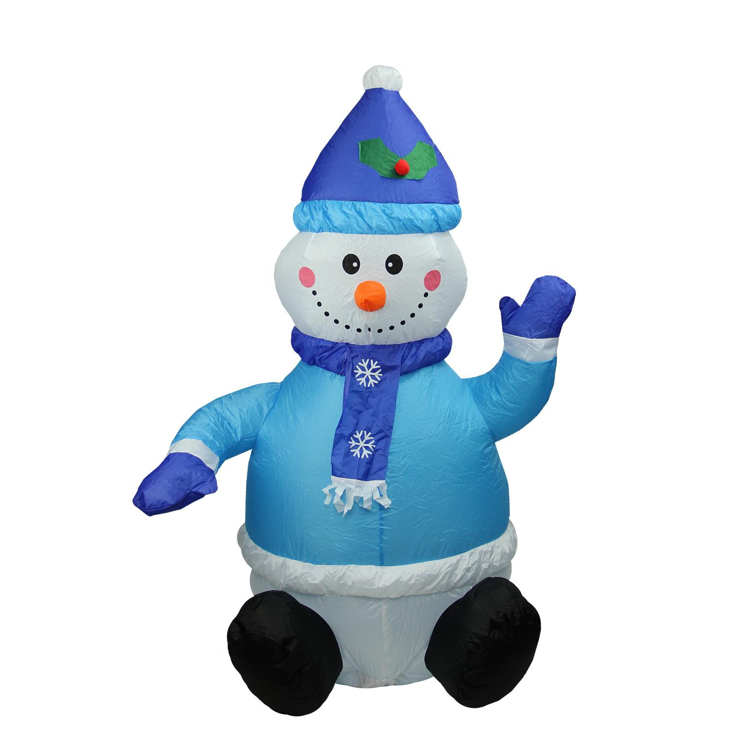 4 39 inflatable lighted blue snowman christmas yard art for 36 countdown to christmas snowman yard decoration