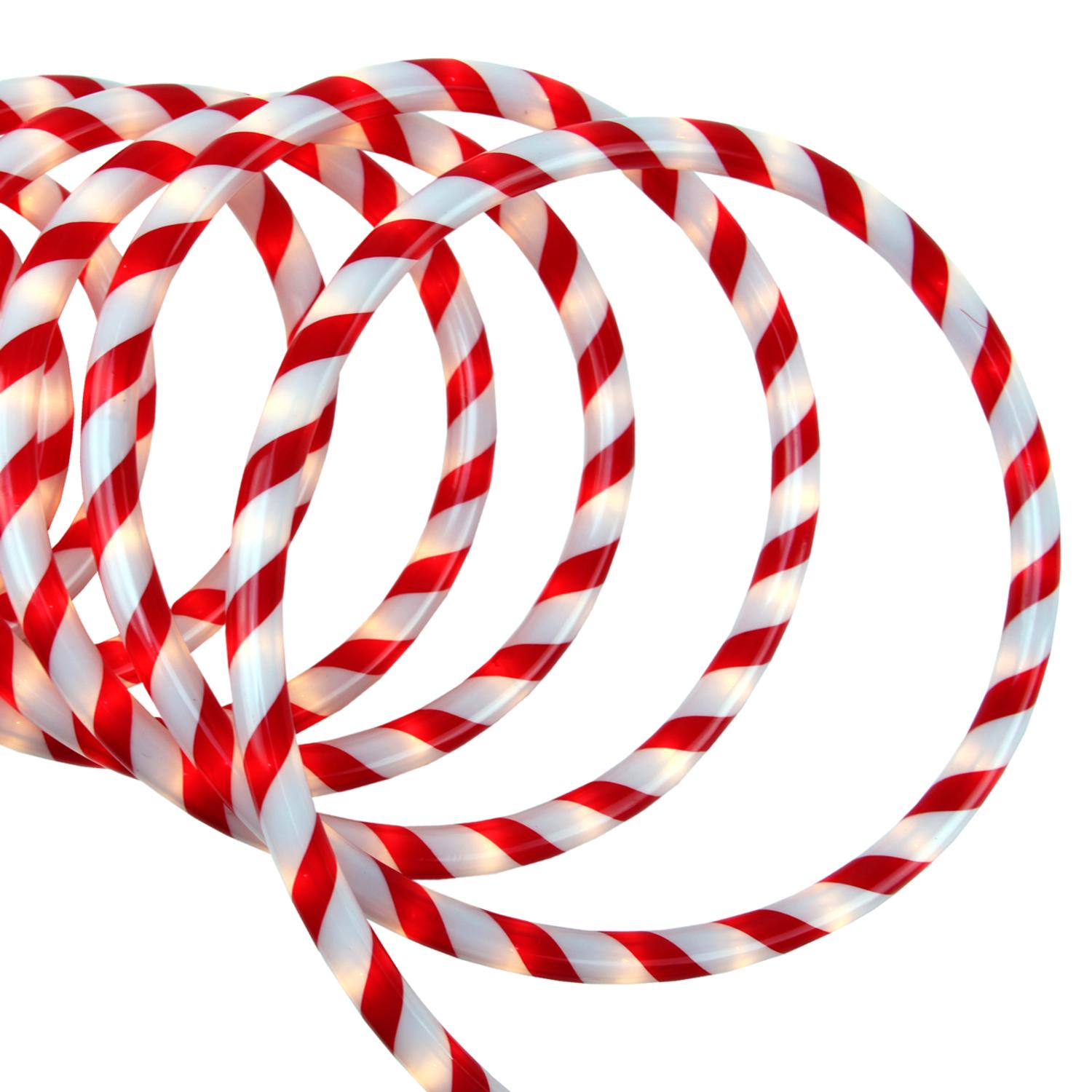SIENNA 18\' Red and White Candy Cane Indoor/Outdoor Christmas Rope ...