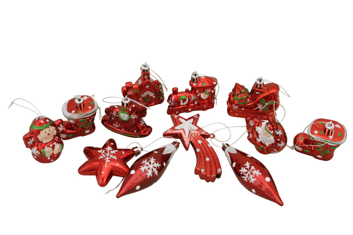 12ct Shiny Red HOLIDAY Themed Glittered Shatterproof Christmas Ornaments