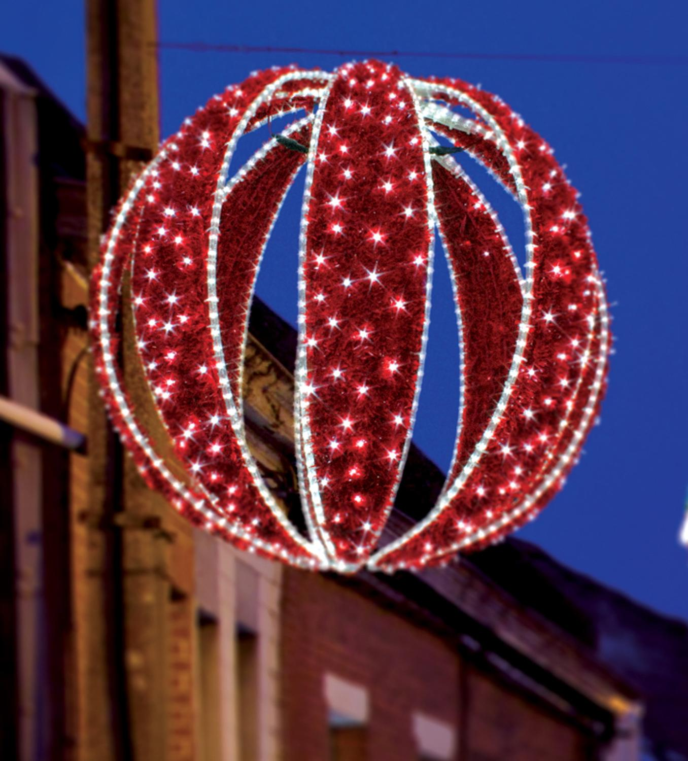 Led lighted red zurich sphere commercial christmas