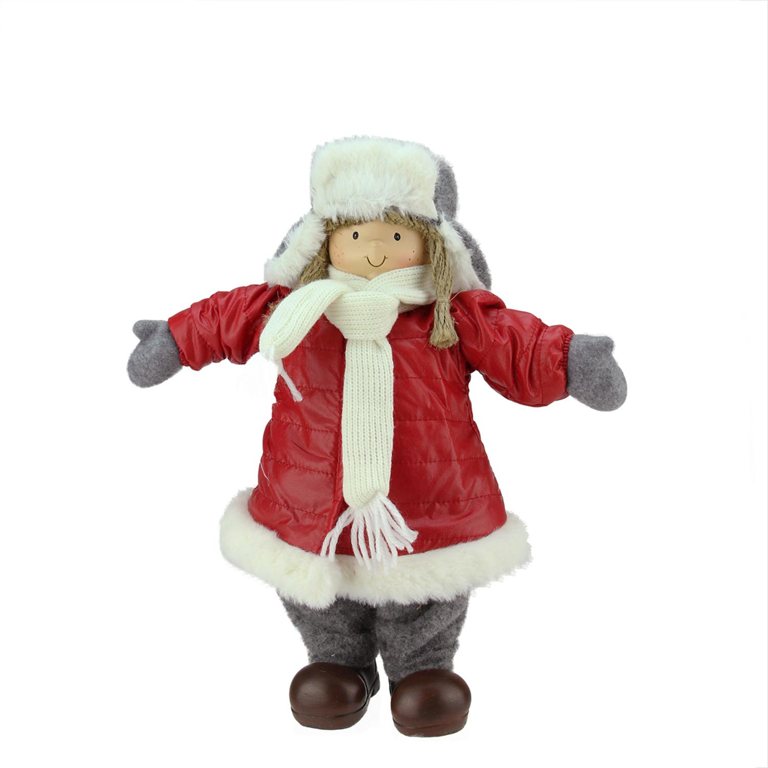 ''12.25'''' Cheerful Young Girl Gnome in Red Puffy WINTER COAT and Gray Hat Christmas Decoration''