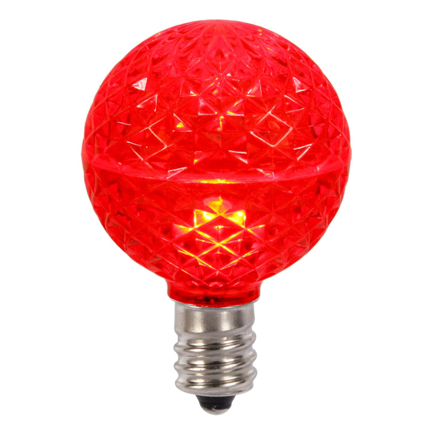Club Pack of 25 LED G50 Red Replacement Christmas LIGHT BULBS - E17 Base