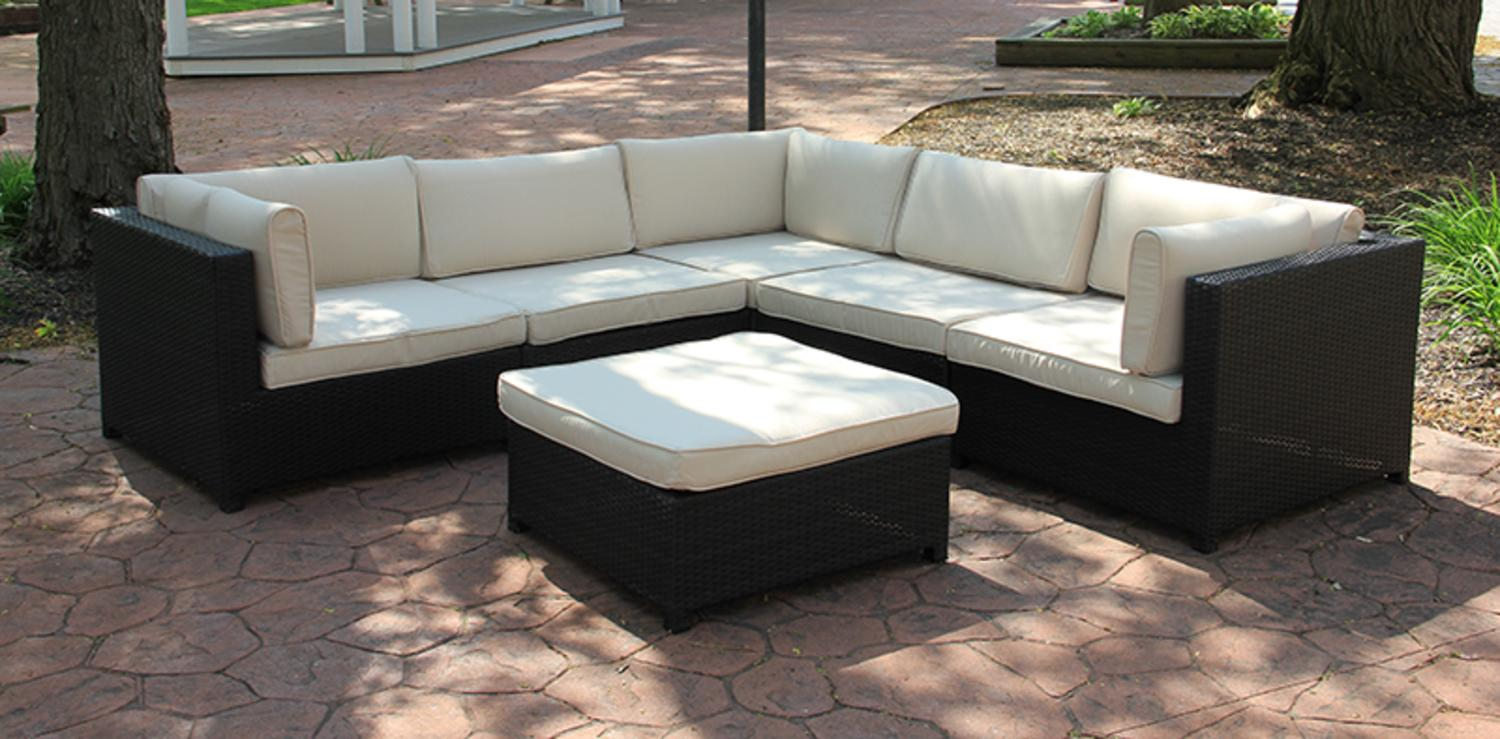 Cc Outdoor Living Black Wicker Outdoor Furniture Sectional Set