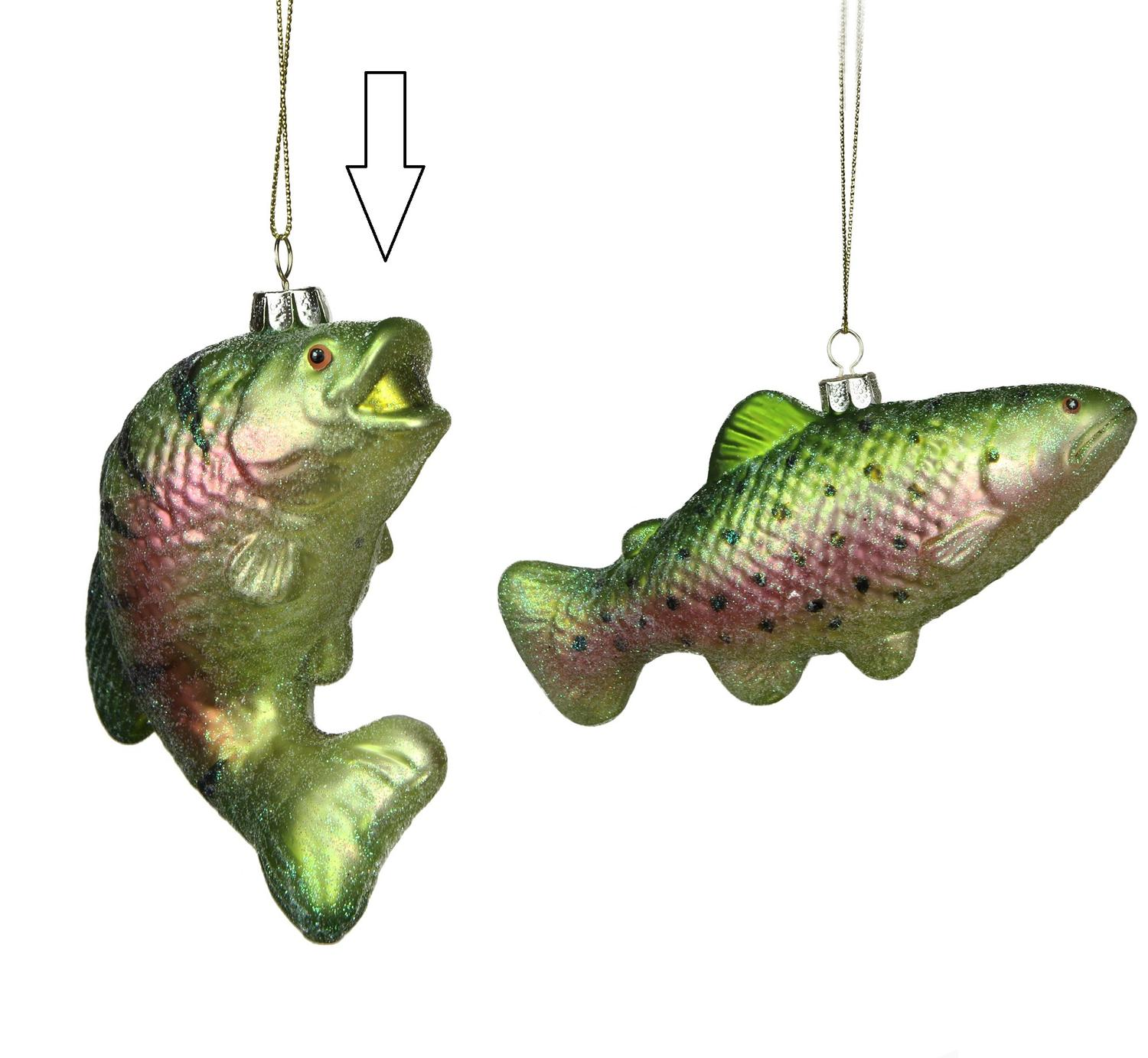 ''4'''' Under the Sea Glittered Metallic Green Stripped Fish Glass Christmas ornament''
