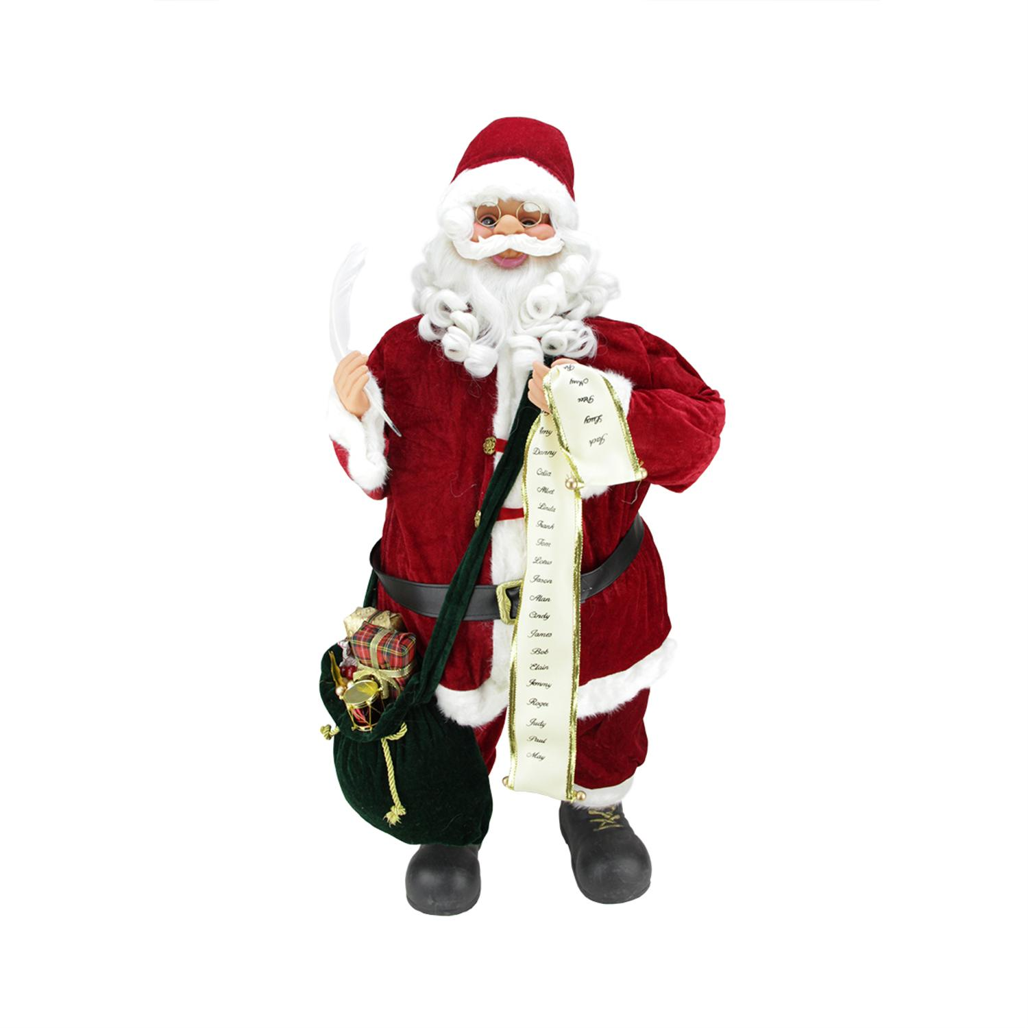 ''32'''' Animated and Musical Battery Operated Standing Santa Claus Christmas Figure with Nice List''