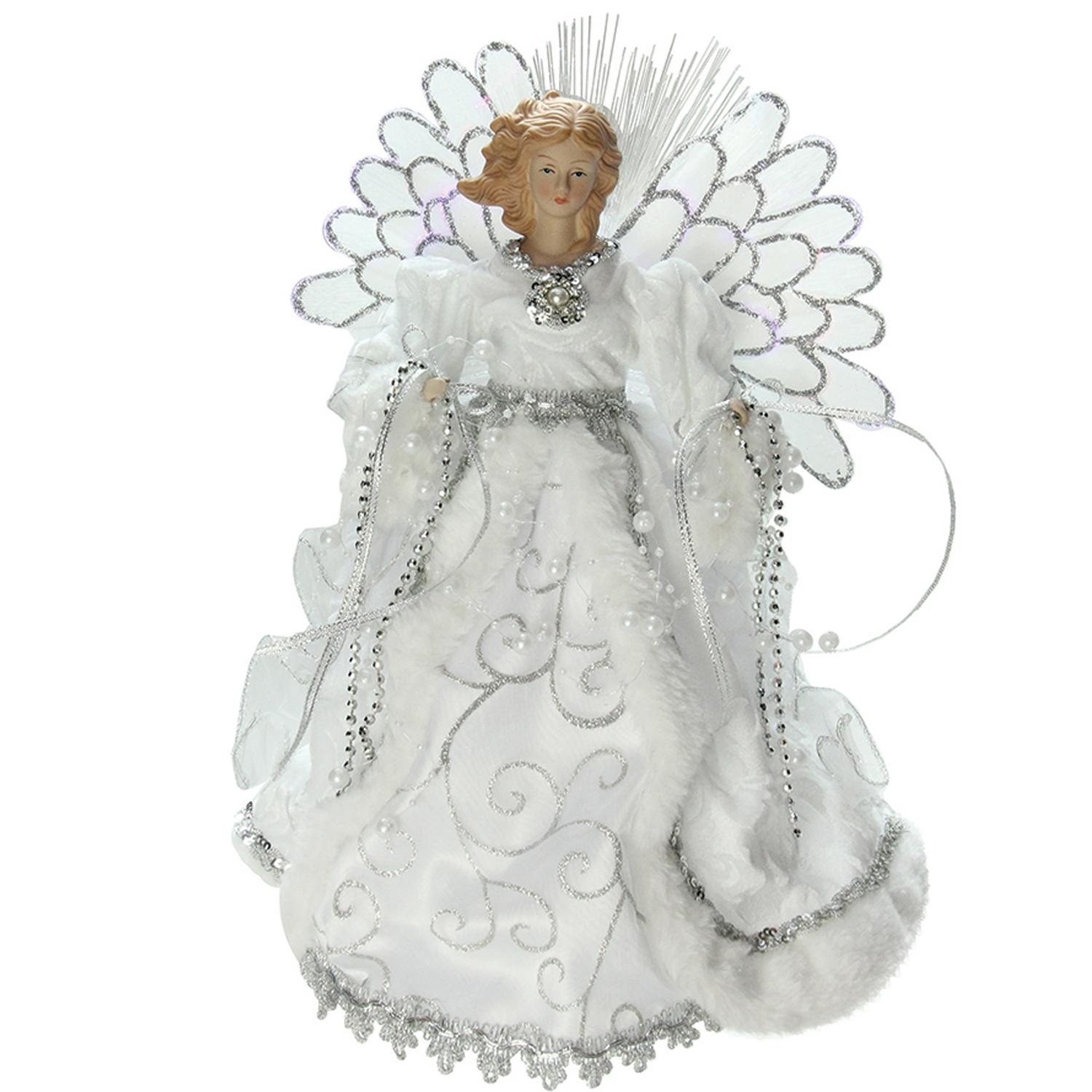 ''13'''' Lighted B/O Fiber Optic Angel with White Gown Christmas Tree Topper''