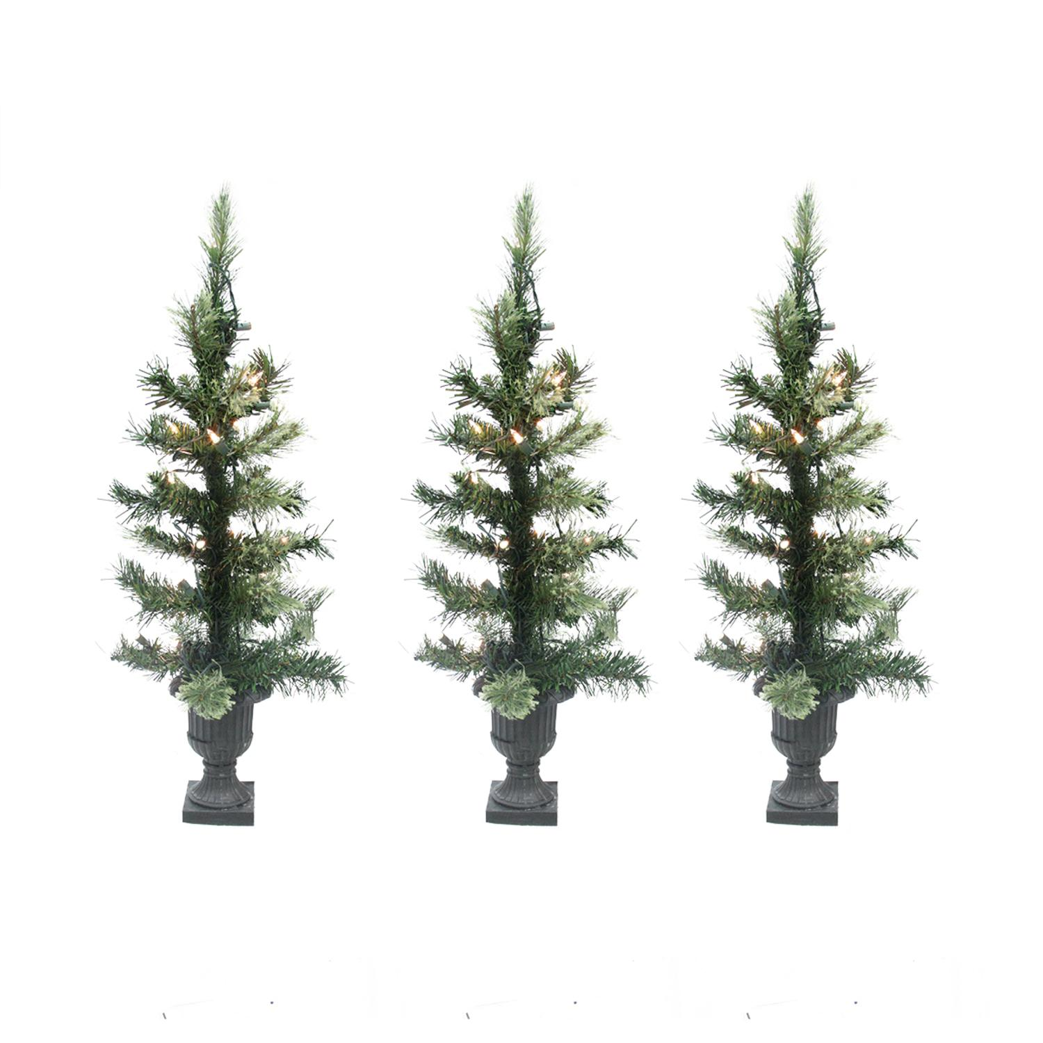 ''Set of 3 Pre-Lit CASHMERE Mix Potted Artificial Christmas Trees 24'''' - Clear Lights''