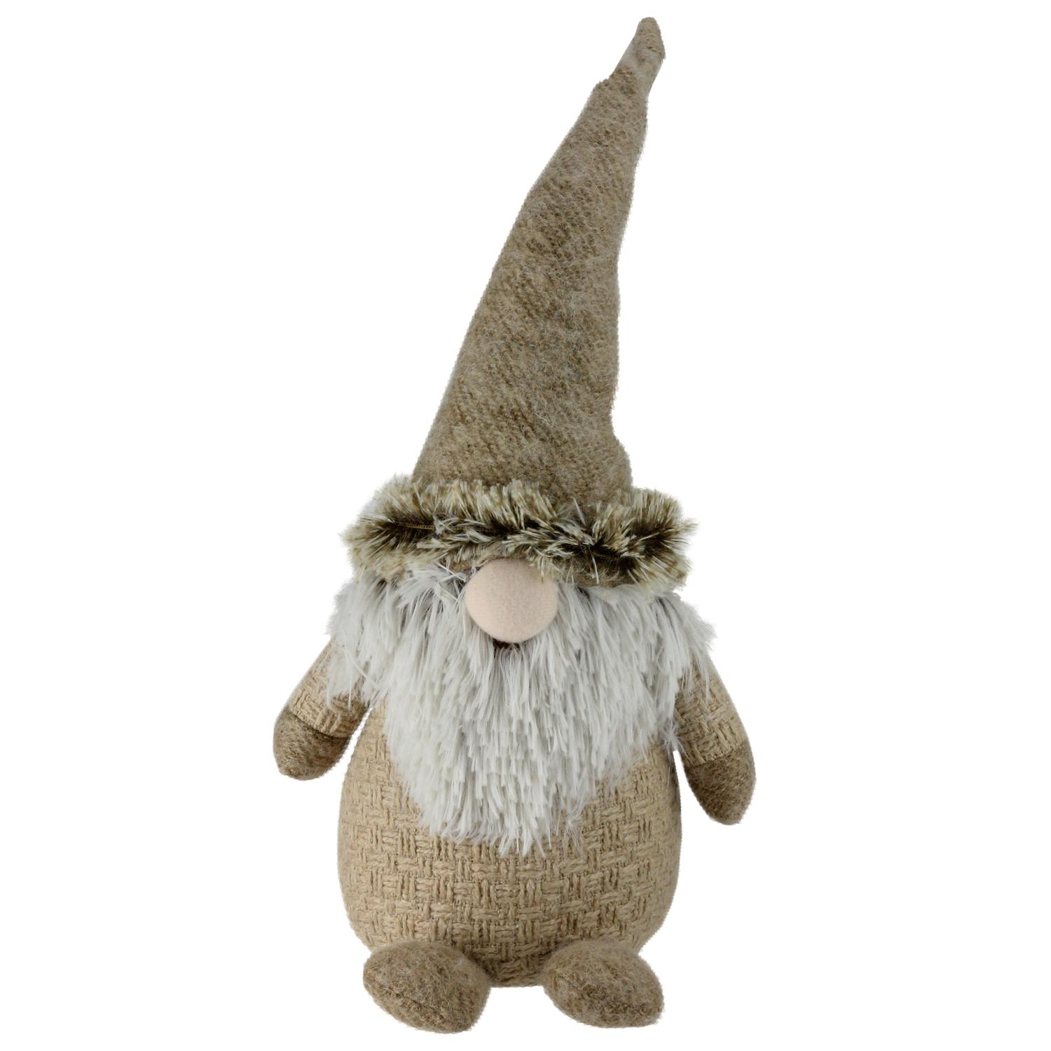 ''17'''' HOLIDAY Moments Brown and White Yarn Nose Decorative Table Top Gnome''