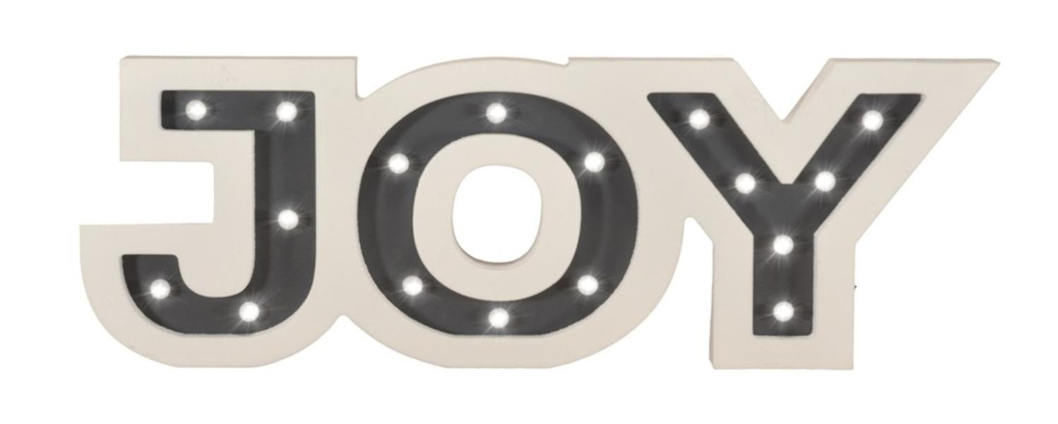 ''17.75'''' Pre-Lit Battery Operated White and Gray Wooden Warm White LED ''''Joy'''' Marquee SIGN with Tim