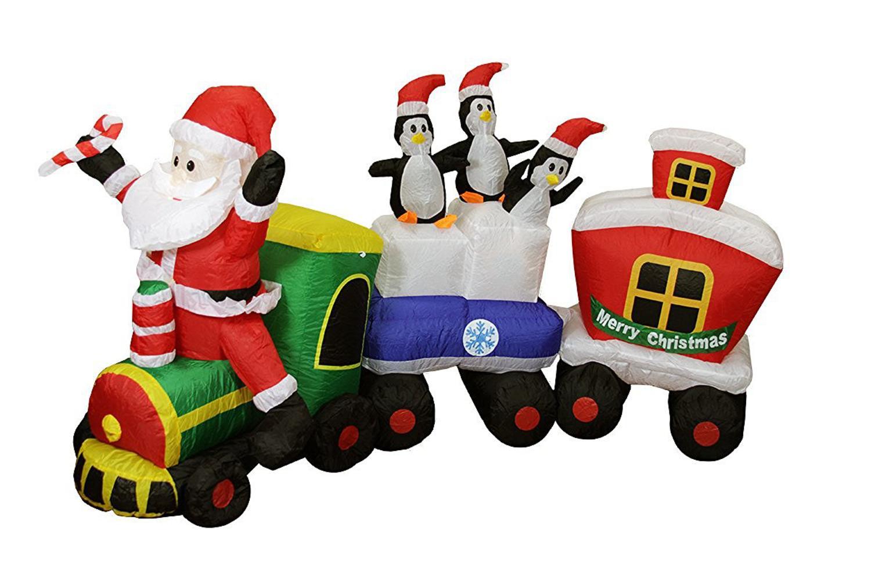 Inflatable lighted santa express train christmas yard