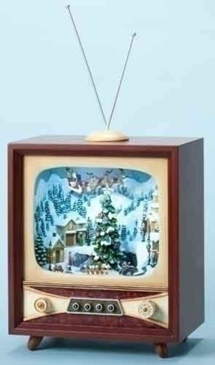 roman 215 amusements led lighted animated and musical retro christmas television set